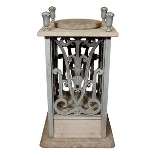 ART DECO PEDESTAL WITH FLORAL DETAILING BY EDGAR BRANDT For Sale