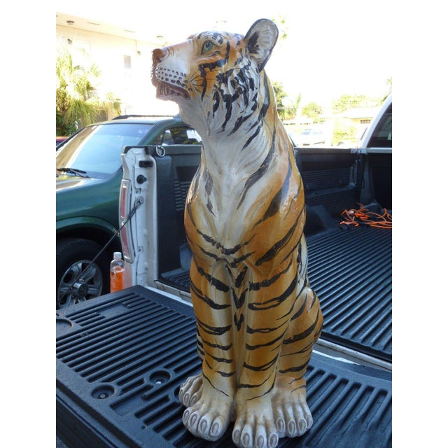 Pair of Large Mid-Century Italian Glazed Terracotta Tigers, Mother and Her Cub For Sale - Image 4 of 13