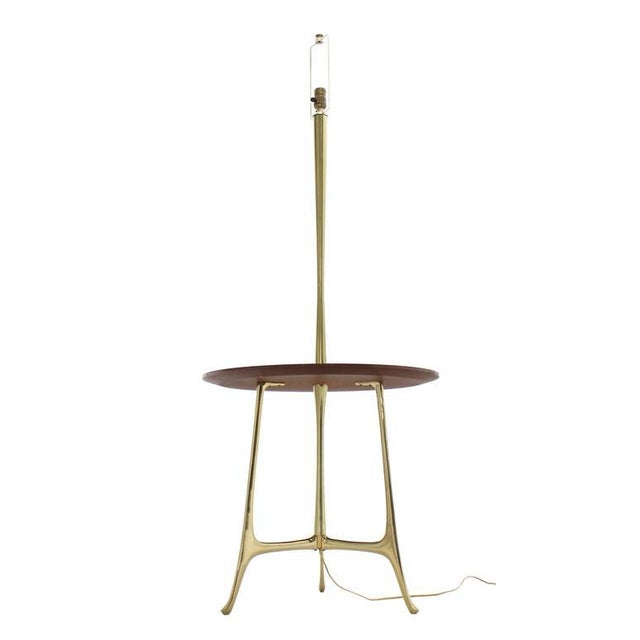 Metal Mid Century Modern Sculptural Tri Leg Base Cast Metal Base Table Floor Lamp For Sale - Image 7 of 7
