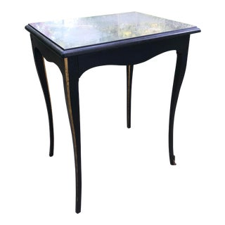19th Century Louis XV Ebonized Wood Gilt Marble Top Side Table For Sale