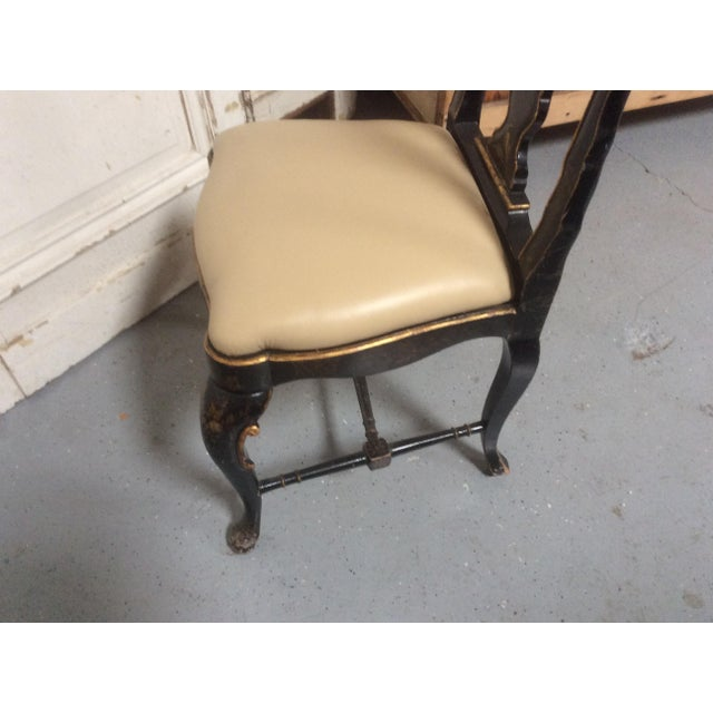 Antique Chinoiserie Desk Chair With Leather Seat For Sale - Image 9 of 10
