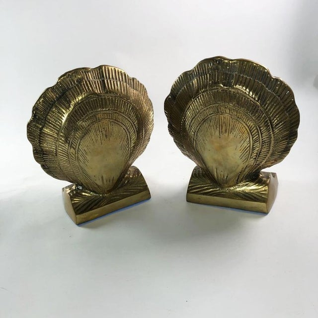 Vintage Mid-Century Brass Clamshell Bookends - a Pair For Sale In Atlanta - Image 6 of 7