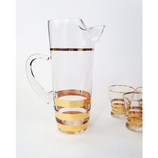 Mid-Century Gold Striped Pitcher & Six Glasses - Image 5 of 6