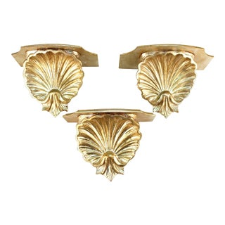 Hollywood Regency Silver Toned Shelf Wall Sconces in Shell Form - Set of 3 For Sale