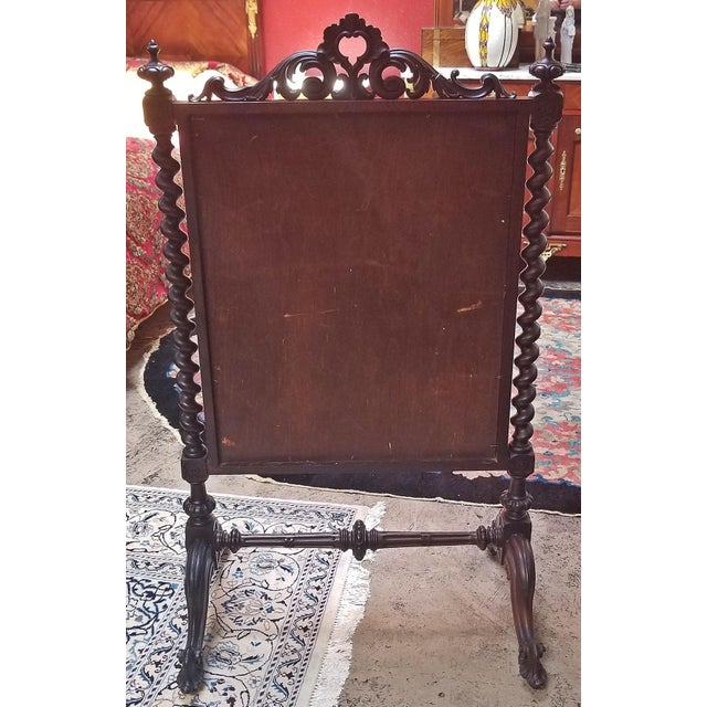 Wood Mid 19c American Rococco Revival Fire Screen For Sale - Image 7 of 10