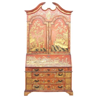 Georgian-Style Red Chinoiserie Secretary For Sale
