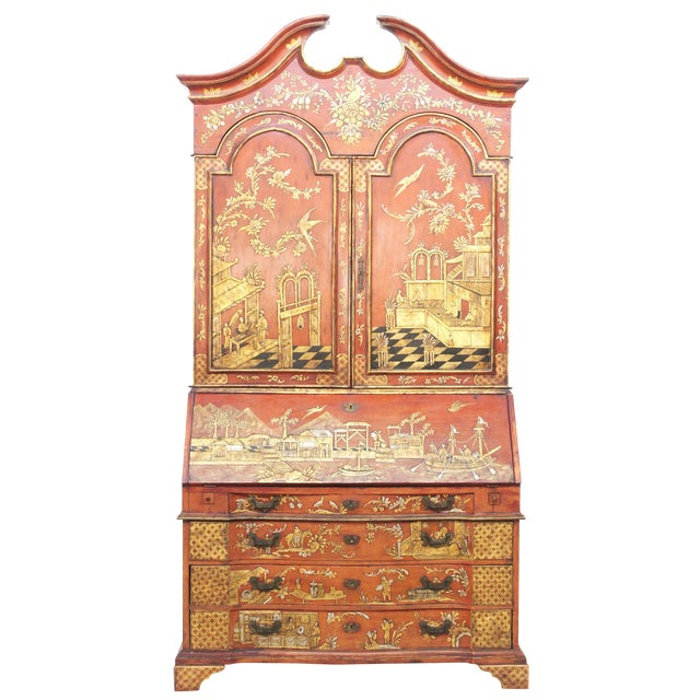 Georgian-Style Red Chinoiserie Secretary - Image 1 of 9