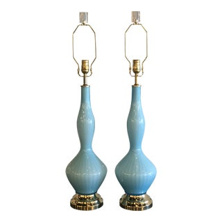 Vintage Murano Aqua Blue Glass Opaline Brass Lucite Table Lamps - A Pair For Sale