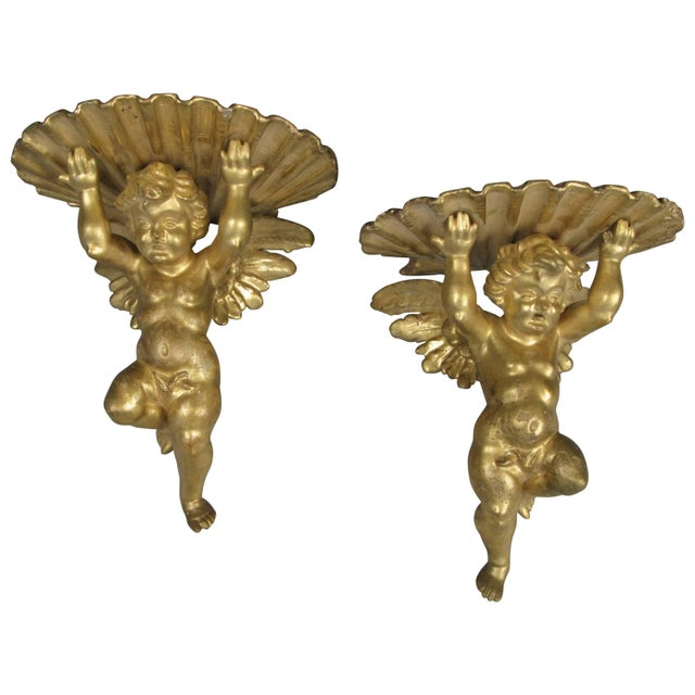 Pair of 19th Century Carved and Gilded Putti Brackets For Sale - Image 9 of 9