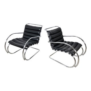 Vintage 1970s Mies Van Der Rohe Style Lounge Chairs - a Pair