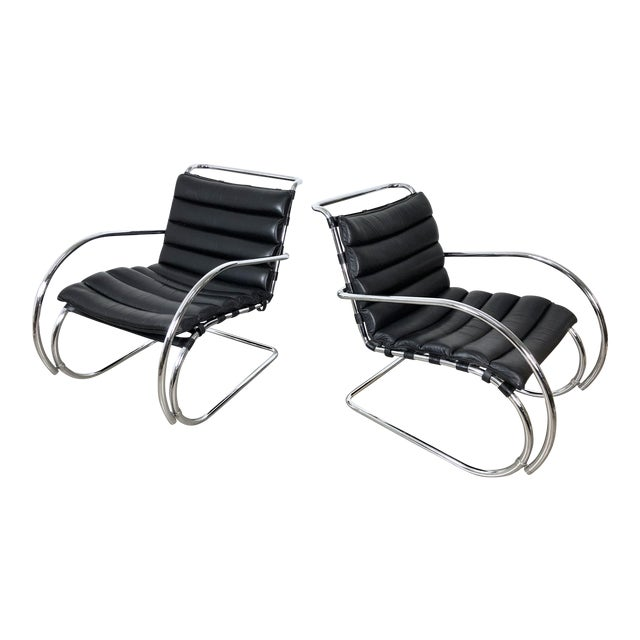 Vintage 1970s Mies Van Der Rohe Style Lounge Chairs - a Pair For Sale