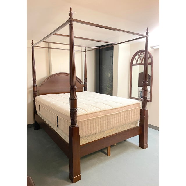 Bombay Company Mahogany Four Poster Bed With Canopy For Sale - Image 10 of 10