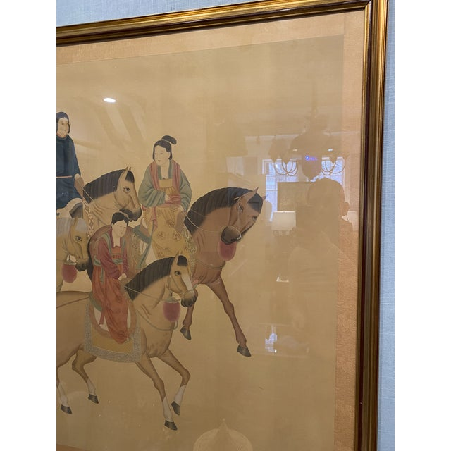 Large Chinese Painting on Silk, Women on Horseback For Sale - Image 9 of 12