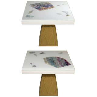 Pair of Cast Resin and Flourite Coffee Tables by Michael Laut / 6987 For Sale