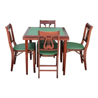 1940's Art Deco Rosewood and Leather Game Table & Chairs - 5 Pieces For Sale