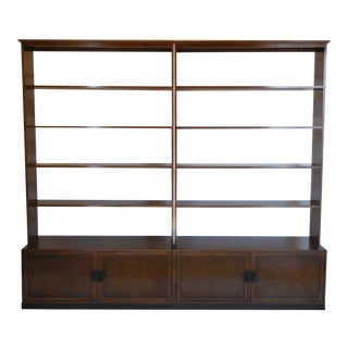 Custom Walnut Wood Bookshelf with Iron Base
