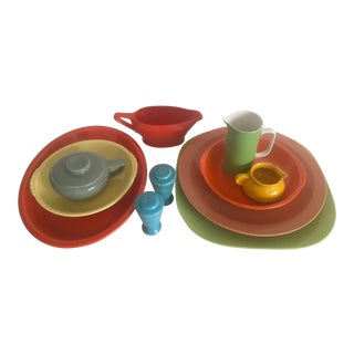 Vintage Mid-Century Modern Multicolor Ceramic Mixed Serving Pieces - Set of 12