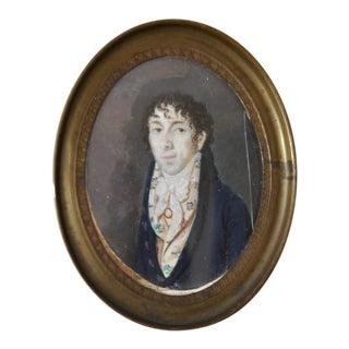 """Mid 19th Century Miniature Portrait """"Young Man W/ Floral Vest"""" Painting C.1860s For Sale"""