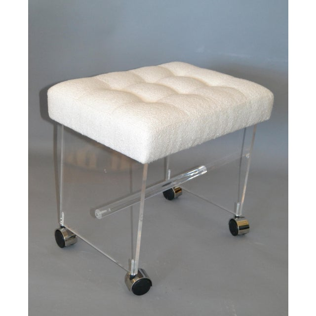 Mid-Century Modern Lucite Stool, Vanity Stool Tufted Boucle Fabric Seat Casters For Sale - Image 9 of 12