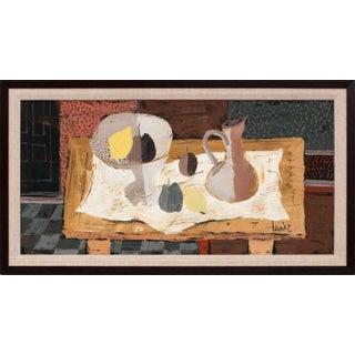 """Circa 1950 """"Untitled: Avec Une Nappe Blanche"""" Still Life Oil Painting by Charles Levier, Framed For Sale"""