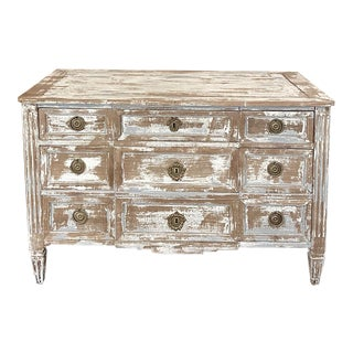 18th Century Country French Neoclassical Whitewashed Commode For Sale