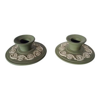 Wedgwood Candlesticks in Jade - A Pair For Sale