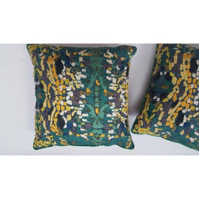 Velvet Beaded Throw Pillows - A Pair - Image 3 of 7