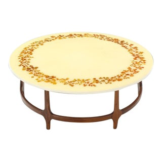 Decorative Mid-Century Modern Walnut Base Round Coffee Table For Sale
