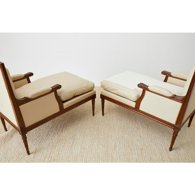 Maison Jansen Louis XVI Style Long Bergere Armchairs - a Pair For Sale - Image 9 of 13