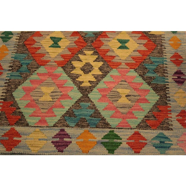 "2010s Kilim Arya Sang Blue & Gray Wool Rug - 2' 7"" X 4' 1"" For Sale - Image 5 of 8"