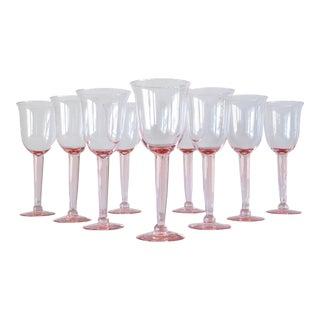 Vintage Light Pink Hand Blown Wine Goblets - Set of 9 For Sale
