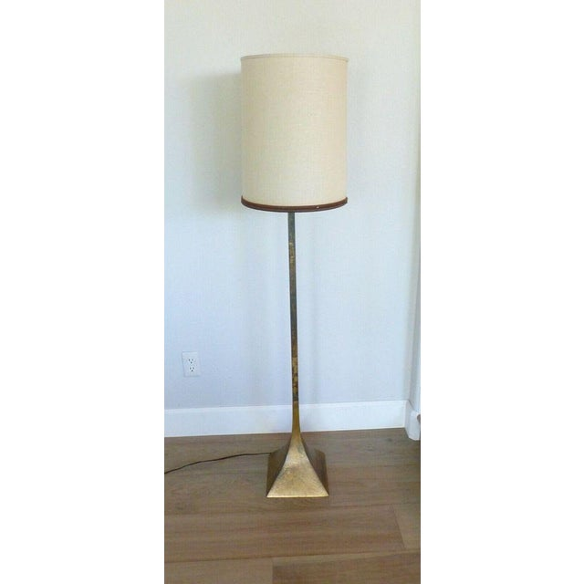 Vintage Mid Century Modern Laurel Lamp Co. Floor Lamp Patinated Brass Metal Original Shade For Sale - Image 10 of 10
