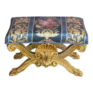1950s Ornate Giltwood Carved Wooden Ottoman Bench W/ Chintz Floral Upholstery For Sale