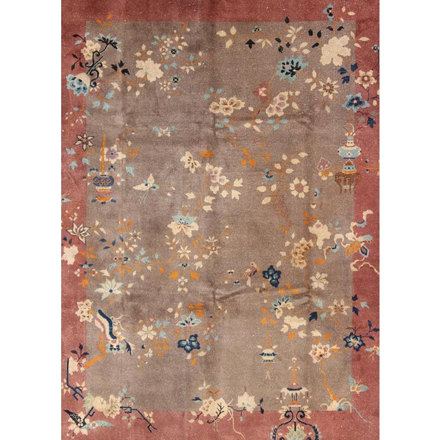 Art Deco 1920s Vintage Chinese Art Deco Rug - 9′ × 11′8″ For Sale - Image 3 of 11