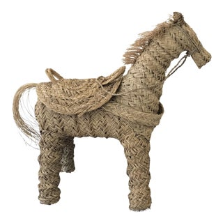 Moroccan Handwoven Oversize Palm Straw Decorative Horse Statue