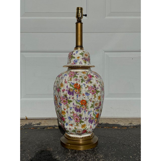 Vintage Floral Chintz Ceramic Lamp For Sale In Milwaukee - Image 6 of 6