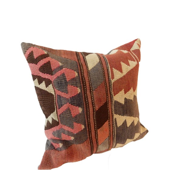 Old Caucasian Tribal Kilim Pillow - Image 9 of 9