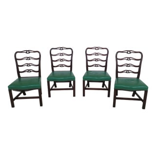 1960s Vintage Kittinger Colonial Williamsburg Ribbon Back Dining Chairs- Set of 4 For Sale