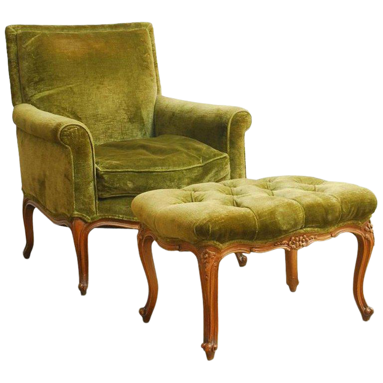19th Century French Velvet Library Chair With Ottoman For Sale