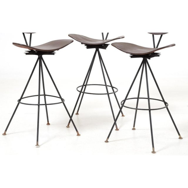 Mid-Century Modern Wood and Wrought Iron Bar Stools - Set of 3 For Sale - Image 4 of 12