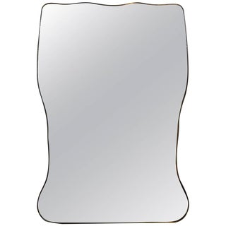 Italian Gio Ponti Inspired Brass Mirror