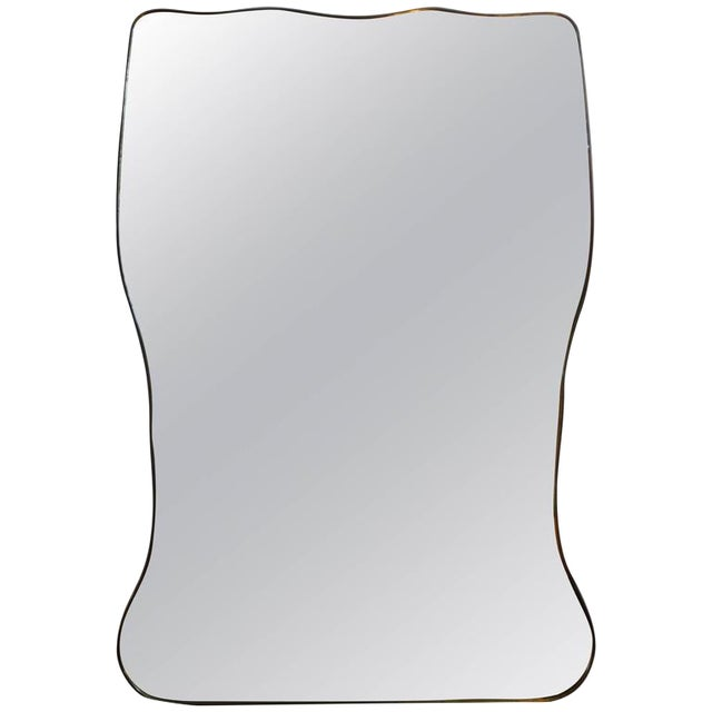 Italian Gio Ponti Inspired Brass Mirror - Image 1 of 7