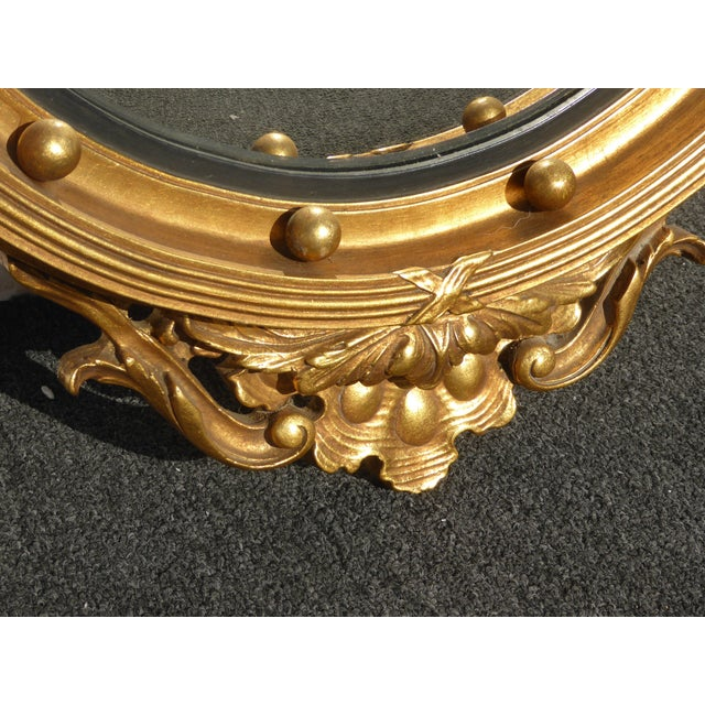 Vintage Federal Eagle Convex Bullseye Gold Wall Mantle Mirror For Sale - Image 9 of 11