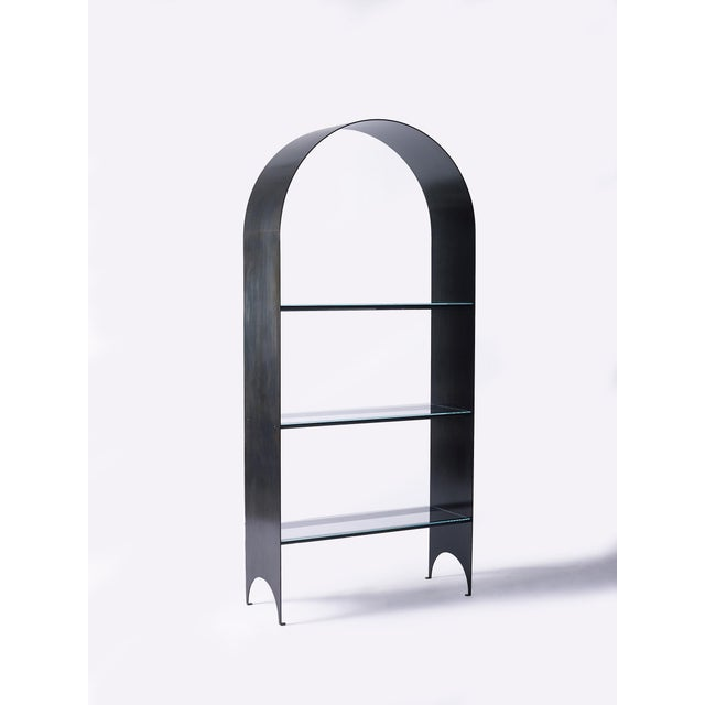 Contemporary Thin Shelves Single in Contemporary Blackened Steel and Starfire Glass For Sale - Image 3 of 7