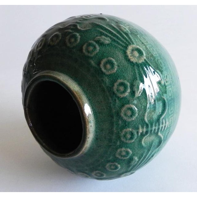 Asian Antique Green Varnish Vase For Sale - Image 4 of 6