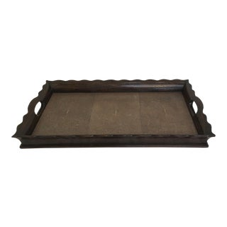 Walnut & Faux Shagreen Tray For Sale
