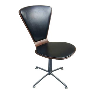 1960s Danish Mid-Century Modern Arne Jacobsen Walnut & Leather Task Chair For Sale