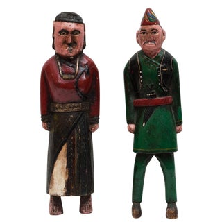 18th-19th C. Central Asian Folk Art Wood Figures, Pair