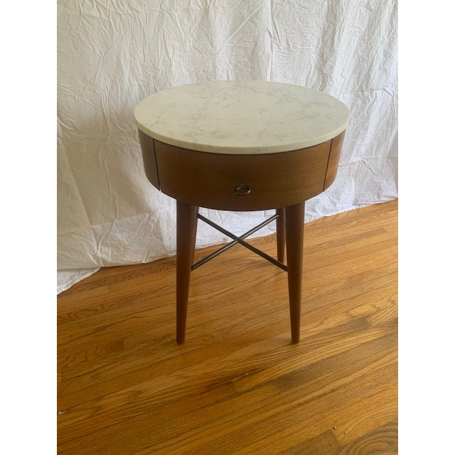West Elm Mid-Century Modern Marble Top Side Table For Sale In Los Angeles - Image 6 of 6