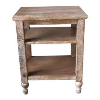 Rustic Pottery Barn Astoria Turned Leg Nightstand For Sale